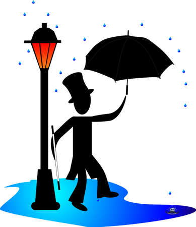 Man dancing in the rain by a gas light, lamp post, with umbrella.... Vector