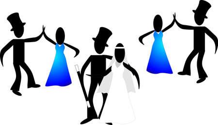 Stick volkeren bruiloft, met Bride, Groom, Best man en Maid van eer, al dansend de eerste dans ..