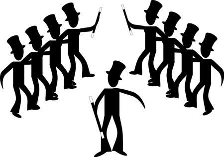 stickmen: Alone with great ideas, formed together in a line teamwork evolves...  Male line dancing..