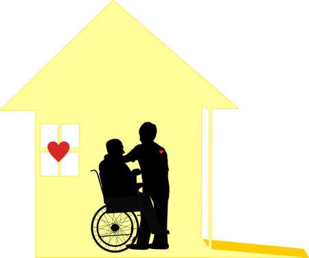 nursing treatment: Domiciliaria por amar, trabajadores sociales, que usan sus corazones en sus mangas. Para la casa y el hospicio situaciones .. Atenci�n a las personas en sus hogares, con respeto y dignidad. Vectores