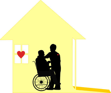 Homecare given by loving, care workers, who wear their hearts on their sleeves.  For the housebound and hospice situations.. Caring for people in their homes with respect and dignity. Vector