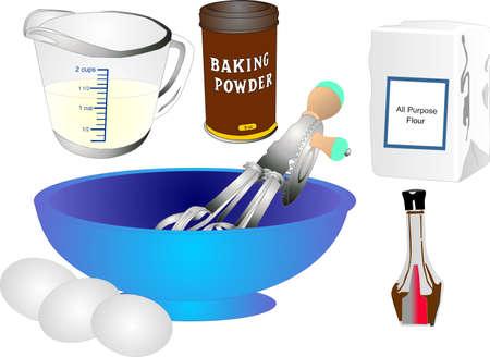 케이크와 대부분의 재료를 만드는 모든기구 일러스트