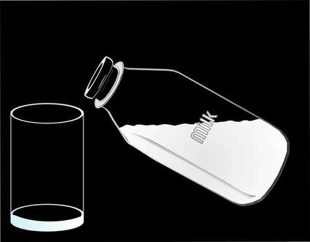 빈 유리 및 부어 기다리는 우유의 전체 절반 병 ... 검은 색 바탕에 흰색. 일러스트