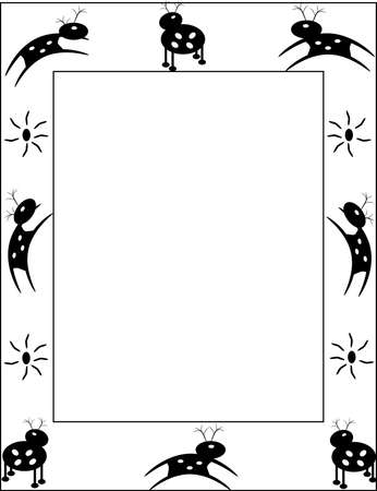 Cave drawings of deer on a white frame
