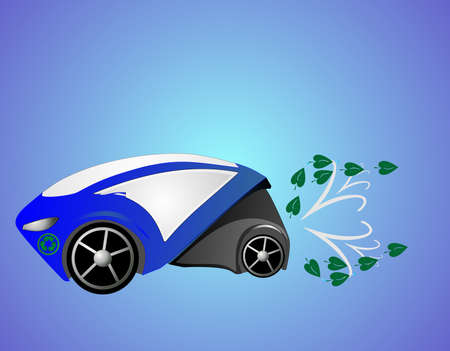 emitting: Eco car, emitting water or clean air, driving to make the world a better place for all...