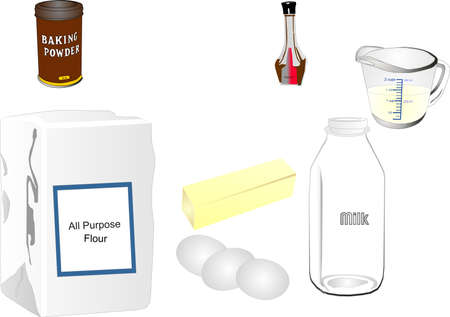 Group of ingredients that may be used in baking. Some are retro style containers.