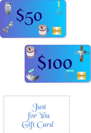 shoppe: Gift card for a Kitchen shoppe, with retro kitchen tools on the face of card.