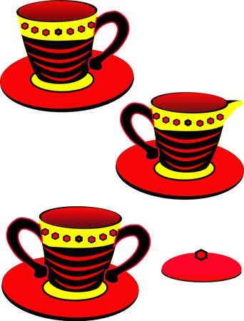 creamer: Teacup, sugar bowl and creamer holder, in a vibrant design and colors, over white illustration...