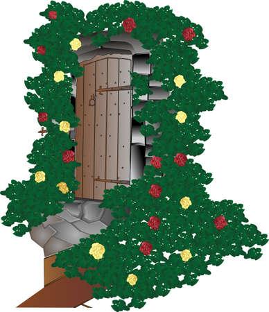 elvonult: Hidden door in amongst roses and vines