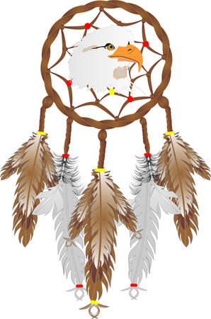 Illustration of a Dreamcatcher with an eagles head, and eagle and owl feathers over white. Good dreams pass through webbing, down feathers and into the sleepers mind... Vettoriali