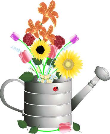 lata: Regadera con flores de corte en una ilustraci�n acuerdo .. Vectores