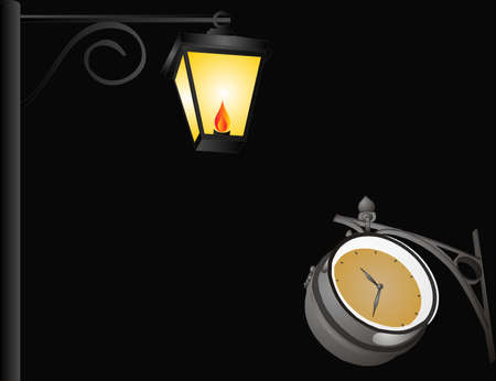 gas lamp: Oil lamp and old clock hanging in the darkness...