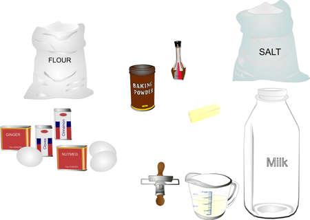 harina: Grupo retro de ingredientes en sus contenedores para hornear.