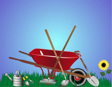 heavy construction: Wheelbarrow with hoe, rake, watering can, shovel on grass illustration