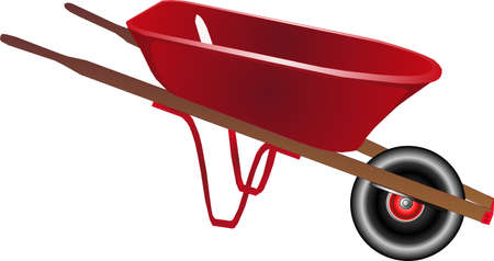 heavy: Bright red wheelbarrow isolated