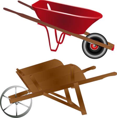 Oude en nieuwe kruiwagens, houten en metalen