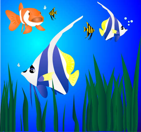 Tropical fish swimming in the ocean, around some weeds. Illustration