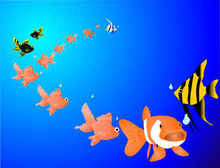 coy fish: Time for change is now....Back to the school.. Tropical fish with new ideas. Illustration