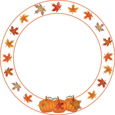 circle shape: Round Autumn and Pumpkin border.  For thanksgiving, Fall, and many more uses for your text in the center.. Illustration