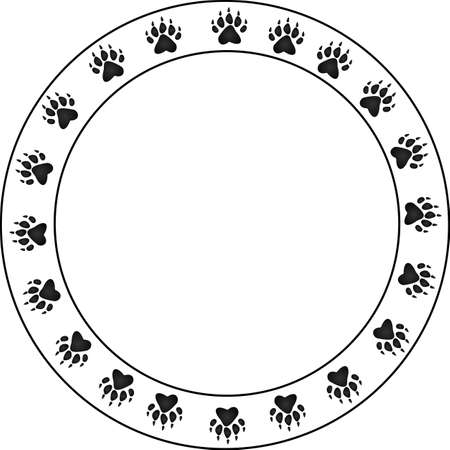 Round bear Paw border. Circular in design with a large copy space for your text.