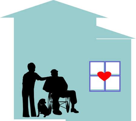 dignidad: Trabajador de cuidados paliativos, ayudar a este hombre y su perro, viven la vida con dignidad!