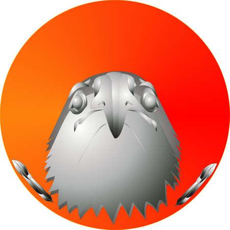 Head of an eagle, in a brushed chrome look, over a sunset, with feathers to each side. Stock Vector - 5571581