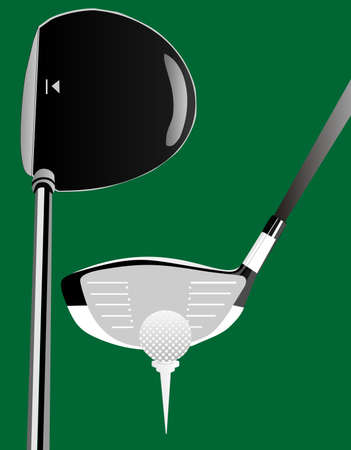 the shaft: Illustration of a driver head side,top view plus a tee and ball.