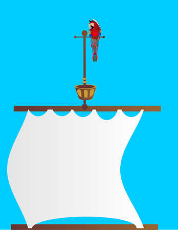 Parrot sitting on a perch on top of a pirates ship, with the sail below... Open space in sail for your text...