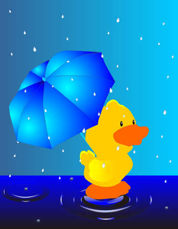 Raining outside, only the weather, ducks would love... Duck with umbrella.. Stock Vector - 5599408