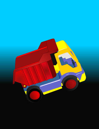 Illustration of a yellow, red and blue dump truck heading out..