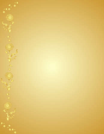 Group of flowers horizontally on the left side in a golden colour. Vector