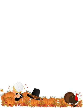 fall harvest: Lil Pilgrim girl in pumpkin patch with turkey and her fathers hat Illustration