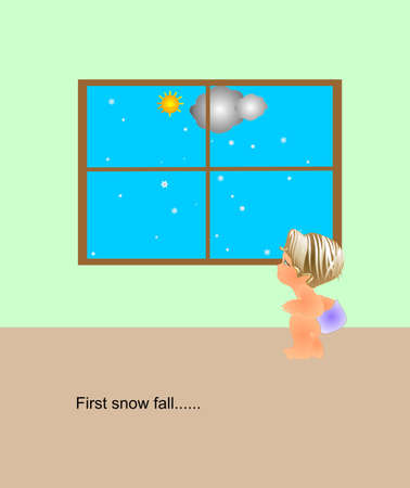Child squatted down looking out window at the first snow fall..