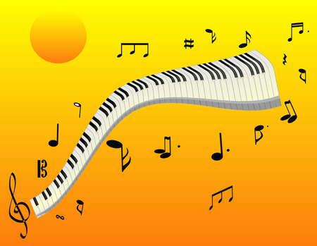일몰과 같이 공중에서 음악, 멀리 떨어져 떠있는 피아노 키, 멋진 멜로디 .. 일러스트