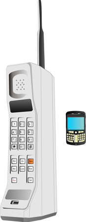big size: Innovations of the cell phone, from a large big piece of plastic, to the phone with the world at your finger tips..