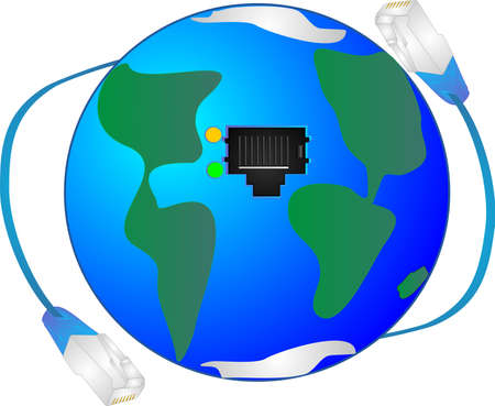 byte: Joining continent to continent, with ethernet. Opening up the world to newer innovations, business, communications and more.. Illustration