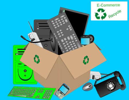 ダンプ: E コマース電子機器やコンピューターのリサイクルのダンプ。  イラスト・ベクター素材