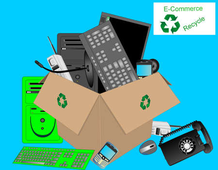 E-commerce recycling dump for electronics, computers and more. Stock Vector - 5734125