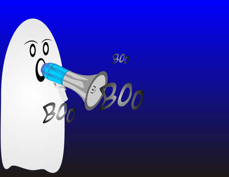hallowed: Ghost with megaphone chanting boo for all to hear at night on Halloween