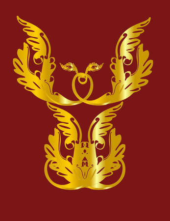 Golden  patterns forming an angel on a  burgundy background Vector