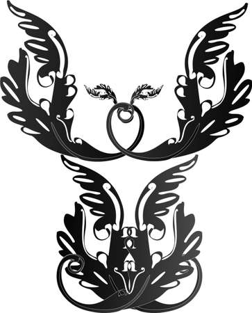 Black ornate  victorian designs forming an angel
