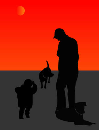 silhouettes: Great Grandfather, and grandson, out for a walk with dogs and playing catch.