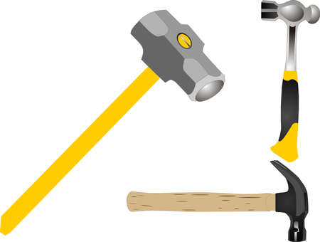 Ball peen hammer, sledge hammer and claw hammer illustration.