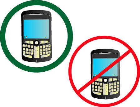 disallow: Usage of cell phone is allowed and not allowed..  Illustration