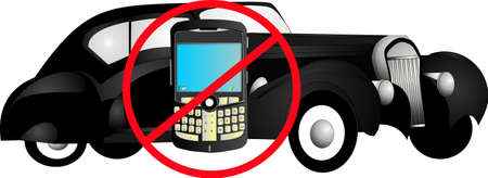declare: No cell phone allowed in vehicles, except hands free operations.. Illustration