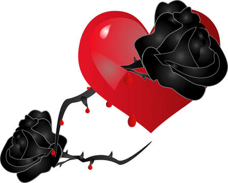 hurts: a black rose and thorns, tears through ones heart, in pain, from broken love. Illustration