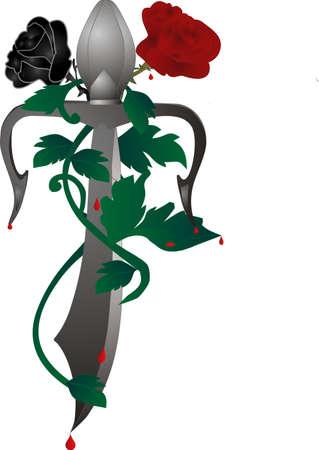 blood type: Sangre de las espinas de Rose, goteando hacia abajo de la daga, a trav�s de las vides, un tipo diferente de amor Vectores