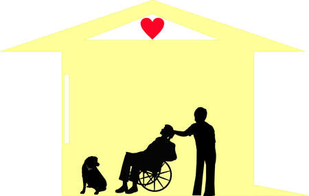 Palliative care giver, helping this man and his dog,in their home! Stock Vector - 5869484