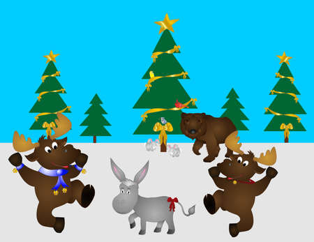bluejay: Wildlife festive party, with moose, a bear, rabbits, donkey, bluejay, cardinal and goldfinch, in the woods some where