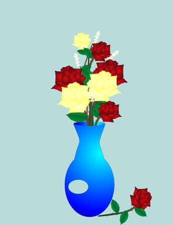 Fragrant group of red and yellow roses for the friend or love in your life, in a designer , blue vase with babys breath... Vector